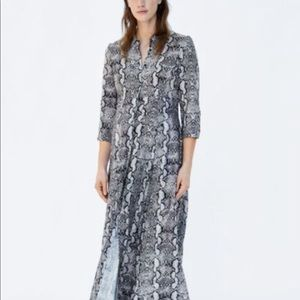 Zara snakeskin pattern long shirtdress Sz S long
